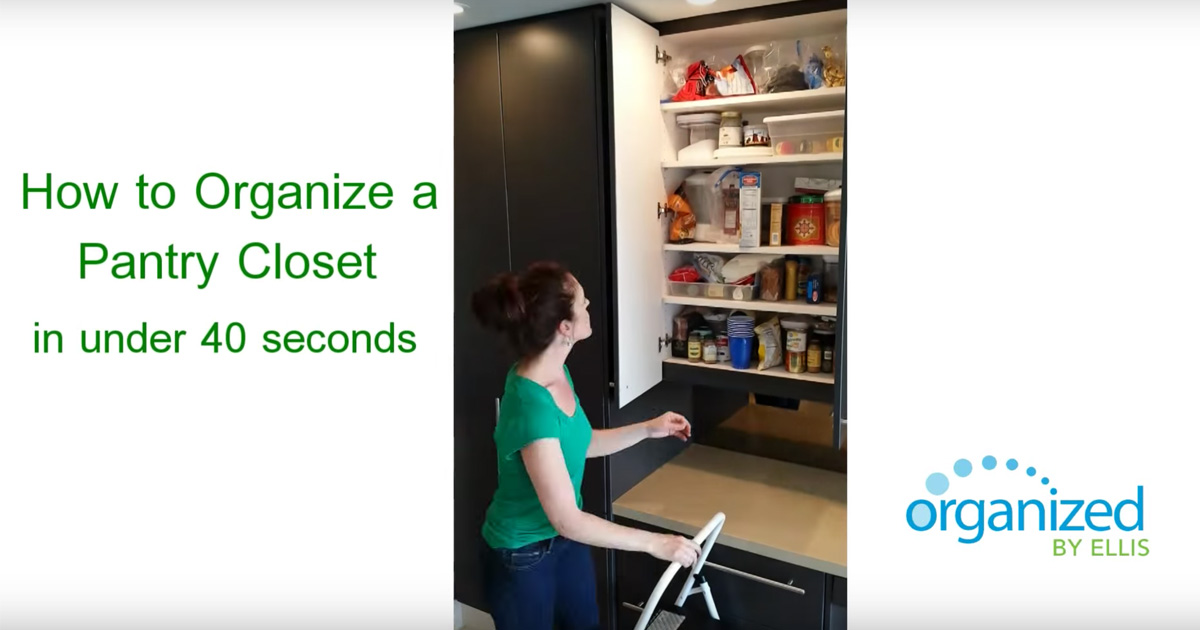 Organized by Ellis - How to Organize a Pantry Closet in under 40 Seconds!