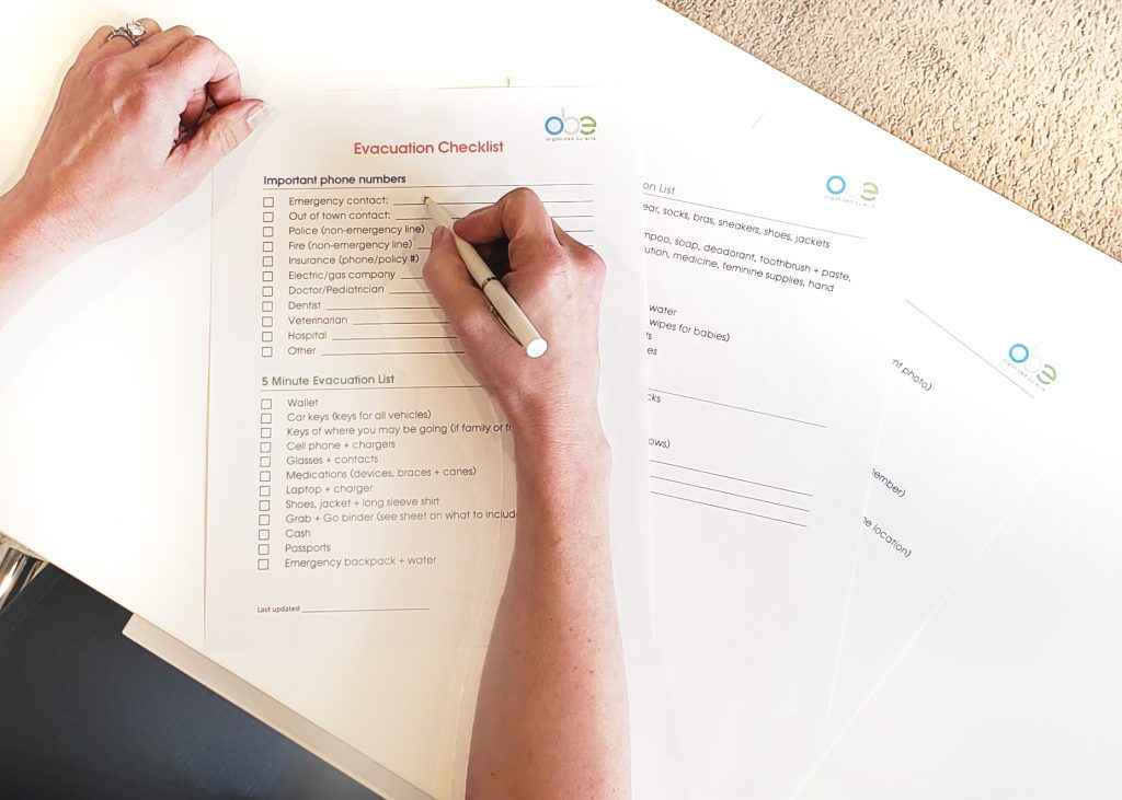 Creating an evacuation checklist